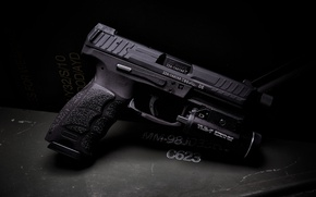 Обои пистолет, фонарик, HK VP9, Tactical