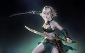 Картинка девушка, оружие, воин, фэнтези, арт, wenfei ye, Tang Punk 2