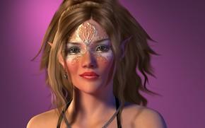 Картинка взгляд, девушка, портрет, макияж, эльфийка