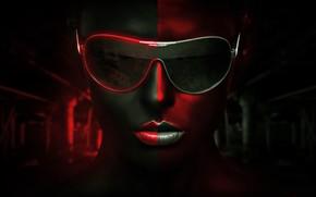 Картинка девушка, очки, legacy, BossLogic, красно-серый фон