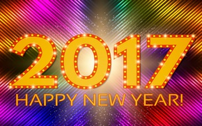 Картинка colorful, Новый Год, abstract, background, neon, happy new year, 2017, glittering