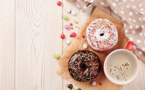 Обои еда, выпечка, глазурь, кофе, пончики