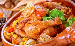Картинка зелень, курица, мясо, овощи