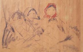 Картинка детёныш, красный платок, Экспрессионизм, Отто Мюллер, три бабы, ca1926, Zigeunerfamilie