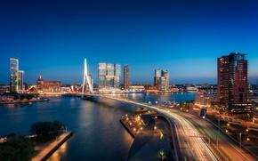 Картинка мост, огни, река, Нидерланды, ночной город, skyline, Голландия, Роттердам, Rotterdam
