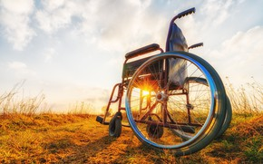 Картинка metal, sunset, Wheelchair