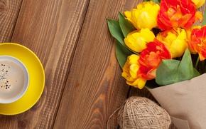 Картинка кофе, букет, colorful, тюльпаны, yellow, flowers, cup, tulips, coffee