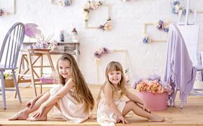 Картинка радость, цветы, улыбка, фото, рамка, девочка, сестры, сидят