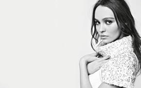 Обои взгляд, девушка, милая, модель, чёрно-белое, актриса, красивая, Лили-Роуз Депп, Lily-Rose Depp
