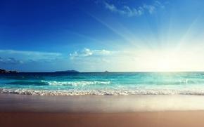 Картинка песок, море, волны, небо, солнце