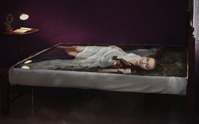 Картинка вода, водоросли, поза, сон, мокрая, светильник, лежит, книга, light, шатенка, ножки, russian, ночнушка, длинноволосая, indoor, …