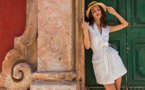 Картинка лето, лицо, стиль, модель, волосы, шляпа