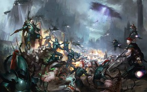 Картинка space marines, battle, Warhammer 40 000, White Scars, Dark Eldar, Drukhari