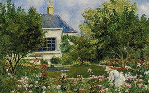 Картинка пейзаж, картина, В Саду, Georges Henri Manzana Pissarro, Жорж-Анри Манзана-Писсарро