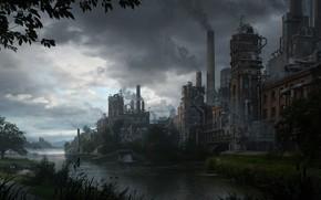 Картинка трубы, река, растительность, сооружения, By the river
