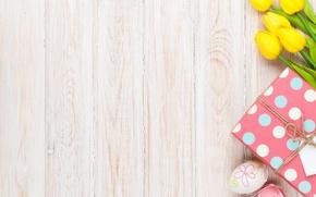 Обои Пасха, тюльпаны, yellow, wood, tulips, spring, Easter, eggs, decoration, Happy, tender