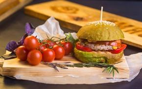 Картинка мясо, доска, перец, овощи, помидоры, гамбургер