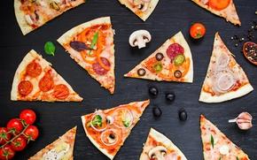 Обои сыр, мясо, овощи, пицца, помидоры, соус, выпечка, pizza, специи, шампиньоны, тесто, ассорти, Italian, tomato, ingredients