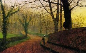 Картинка дорога, деревья, пейзаж, забор, картина, аллея, Джон Эткинсон Гримшоу, John Atkinson Grimshaw, Парк Стэплтон рядом …