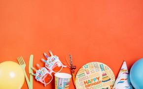 Картинка день рождения, очки, тарелка, Шарики, Праздник, декор