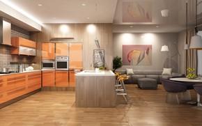Картинка дизайн, комната, интерьер, кухня, modern, sofa, decor, kitchen