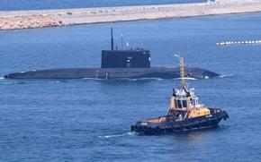 Картинка лодка, буксир, субмарина, подводная, Новороссийск, Черное море, дизельная
