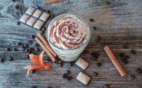 Картинка шоколад, корица, десерт, кофейные зерна