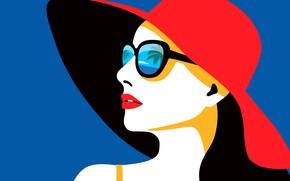 Обои шляпа, пальмы, вектор, Tropical Woman, отражение, фон, красная, лицо, море, девушка, губы, очки, небо, синий