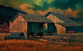 Картинка природа, дом, забор, хозяйство