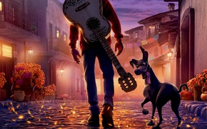 Обои Coco, animated film, Pixar, sull, skull and bones, boy, eyes, hat, animated movie, bones