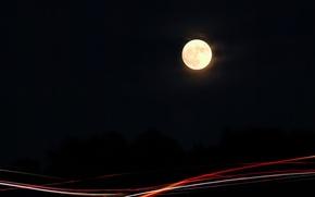 Картинка ночь, огни, луна
