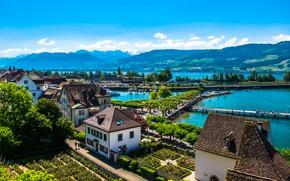 Картинка горы, озеро, берег, дома, Швейцария, солнечно, Rapperswil