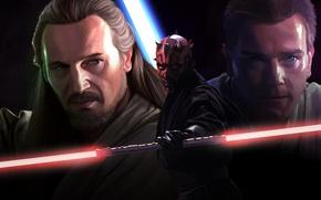Картинка Obi Wan Kenobi, Movie, Qui-Gon Jinn, Звёздные войны. Эпизод I: Скрытая угроза, Star Wars Episode ...