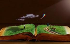 Картинка солнце, книги, оддых, летучий змей