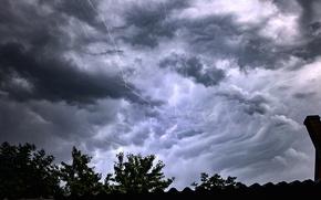 Картинка dark, storm, rain, sky, lightning, cloud, clouds