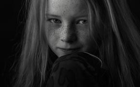Картинка портрет, девочка, веснушки