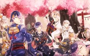 Картинка аниме, арт, парни, Touken ranbu, Танец Мечей