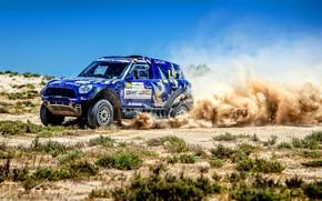 Картинка Mini, Синий, Пыль, Спорт, Скорость, Гонка, Rally, Внедорожник, Ралли, 206, X-Raid Team, MINI Cooper, X-Raid, …