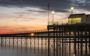 Картинка закат, мост, берег, Southend
