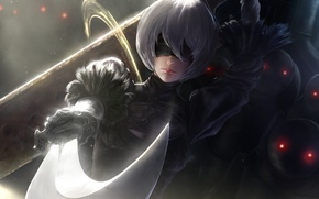 Картинка девушка, фантастика, меч, роботы, арт, повязка, киборг, сабля, platinum games, NieR: Automata, YoRHa No.2 Type …