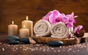 Картинка цветы, полотенце, свечи, спа