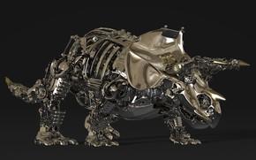 Картинка металл, детали, Triceratops, Трицератопс