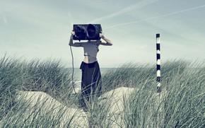 Картинка девушка, берег, светофор