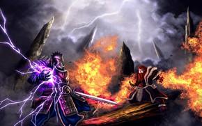 Картинка fire, battlefield, flame, sword, star, armor, weapon, fight, ken, blade, battle, thunder, helmet, sorcerer, ray, …