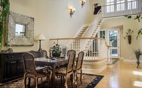 Картинка дизайн, стиль, стол, стулья, лестница, столовая