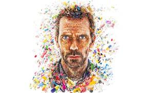 Картинка лицо, коллаж, Хью Лори, таблетки, Доктор Хаус, лекарство, капсулы, Грегори Хаус