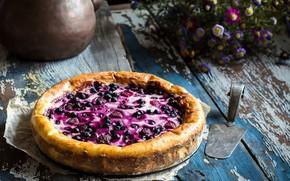 Картинка лето, цветы, ягоды, черника, пирог