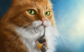 Обои сыр, фотошоп, мышка, рыжий кот, ситуация