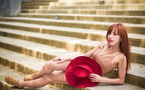 Картинка девушка, шляпка, азиатка