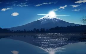 Картинка Japan, sky, cloud, lake, asian, oriental, asiatic, Fuji, kumo, japonese, by iitheluciferii, montai, Fuji Mountain, …